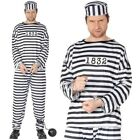 Mens Convict Fancy Dress Costume Prisoner Robber Outfit New by Smiffys