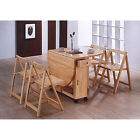 Butterfly Drop Leaf Dining Table with 4 Chairs - w/ Storage - Folding Chairs