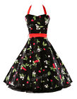 Vintage Design Elegant Cherry Print Rockabilly Swing Prom Party Formal Dress HOT