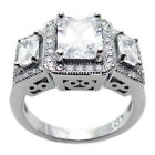 925 Sterling Silver 3.16 Carat 3-Stone Emerald Cut Engagement Ring Size 5-9