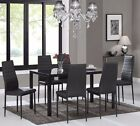 Black or White Dining Table Clear Glass and with 6 Matching Chairs Faux Leather