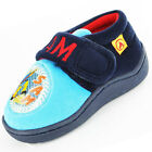 Boys Size 5 - 10 Navy Blue FIREMAN SAM Velcro Slippers NEW To the Rescue Reduced