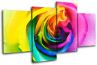 Rainbow Rose Floral MULTI CANVAS WALL ART Picture Print VA