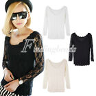 Long Sleevs Women's Neck Bodycon T-shirts Crew SexyCasual Lace Basic Tee