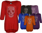 Ladies Women New Skull Plus Size Top Dress Tunic Studded Long T-Shirt Size 14-24