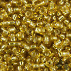 60g GOLD SILVER LINED ROUND GLASS SEED BEADS SIZE 6/0 4mm JEWELLERY, CRAFTS