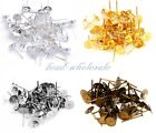100pcs Flat Earring Earrings Post Stud Jewelry Making Findings Silver/Golden 6mm