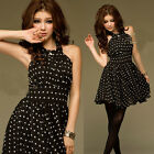 Gorgeous Halter Neck Womens Polka Dot Print Backless Casual Mini Dress Lined New