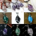 1x Silver Plated Natural Gemstone Amethyst/Agate Bead Pendant Charm For Necklace