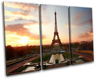 Eiffel Tower  Sunset City TREBLE CANVAS WALL ART Picture Print VA