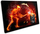 Skeleton Fire guitar Musical SINGLE CANVAS WALL ART Picture Print VA