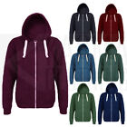 UNISEX MENS WOMENS CAMPUS PLAIN WHITE ZIP HOODIE HOODED TOP PULLOVER S-XL