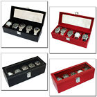 MENS GENTS BLACK OR RED FAUX LEATHER 5 WATCH STORAGE BOX DISPLAY CASE ORGANISER