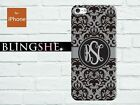 Custom grey damask floral Monogram case for iPhone 7 7plus 6 6s plus SE 5S mn217