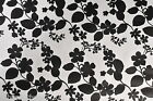 BLACK & WHITE FLORAL VINYL PVC OILCLOTH WIPE CLEAN TABLECLOTH CO click for sizes