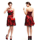 Sweetheart Neckline Padded Strapless Ruffles Flower Cocktail Party Dress 03497