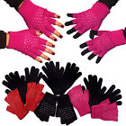 2 PIECE SET LADIES GIRLS KNITTED WARM WINTER THERMAL GLOVES FINGERLESS DIAMONTE