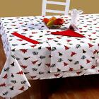 Christmas Table Cloth 100% cotton With designer xmas tree, Red & Gold Snowflakes