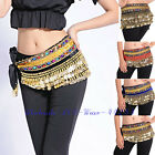 Belts Belly Dance Chain Hip Scarf Skirt Costume Wrap Gold Coins Gemstone Velvet