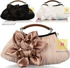 Big Satin Flowers Women Bride Cocktail Party Evening Clutch Bag Handbag Purse