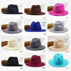 Vintage Women Men Plain Wool Felt Cloche Peach Floppy Caps Wide Brim Fedora Hats