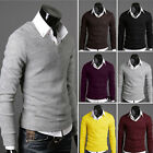 Stylish Mens Slim Fitted Elastic V-neck Sweater Jumper Knitwear Pullover Shirts