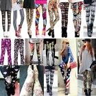 Retro Fashion Womens Colorful Pattern Print Leggings Tights Pants 13 Styles