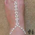 SUPER DELUXE BAREFOOT SANDALS, (PAIR) SWAROVSKI CRYSTAL, IVORY PEARL, ANKLET