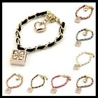 New Fashion Assorted Colors Leather Gold Plated Charms Hollow Square Bracelet