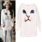 Women Blue Eyes Cat Face Print Crewneck Tops Sweater Knitted Jumper Thick Blouse