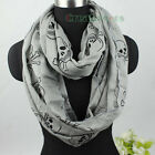 Cute Black Flocking Skull Infinity 2-Loop Cowl Eternity Endless Casual Scarf NEW