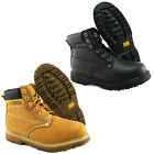 Mens Leather Work Boots Steel Toe Cap Safety Footwear GROUNDWORK Lace Up SK21