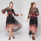 Printed Long Sleeve High Low Round Neckline Party Dress 03652 UK Size 6-18