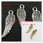 80/5000pcs Silver/Gold Color 2Sided Wings Charms Jewelry DIY 17x5mm 1263