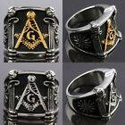 Fashion Men Freemasonry Free Mason Masonic Stainless Steel Finger Ring Jewelry