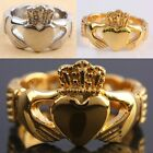 Heart Crown LOVE Claddagh Friendship Stainless Steel Finger Ring Golden/Silver