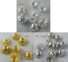 300pcs Silver,Gold Plated Flower Bead Caps 11x6mm Findings S45 S46