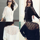 Sexy Hot Womens Ladies Batwing Lace Long Sleeve Ladie Loose T Shirt Blouse Top