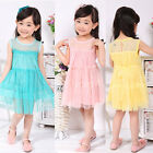 Toddler Baby Girls Kids Princess Birthday Sleevless Party Lace Formal Dress 2-7Y
