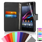 Flip Wallet Leather Case Cover For Sony Xperia Z1 With Screen Protector