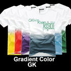 Fasion Men Male Boy O crew Neck Cotton Fade Gradient Color Short Sleeve T Shirt