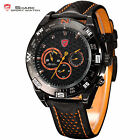 SHORTFIN SHARK 6 Colors Date Day Leather Quartz Wrist Men Sport Watch