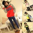 Cute Girls Leopard Stitching Hoodie Letter Printing Casual Tops Blouse QUK MPH