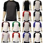 New 3/4 Sleeve Raglan Baseball Mens Plain Tee Jersey Team Sports T-Shirt S-3XL image