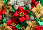 5 or 10 Christmas Flower Ribbon Pearl Beads Red Green Satin or Gold Silver Lurex