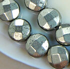 8mm Faceted Natural Pyrite Coin Beads 15.5""