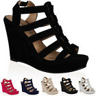 NEW WOMENS STRAPPY CUT OUT WEDGE HIGH HEELED LADIES PARTY SANDALS SHOES SIZE 3-8