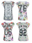 Ladies Girls Burnout Effect Floral Print NY 92 Top T-Shirt Varsity Jersey Faded