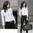 Women Fashion Shrug Bubble Long Sleeve Slim Cotton Shirt Blouse Top