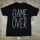 Mens Game Over Simple Minimal Humor Verbage Type Graphic Screen T Shirt New